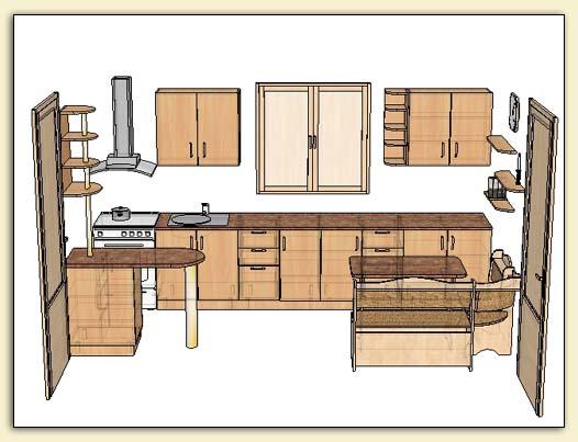 Дизайн кухни с окном и балконной дверью