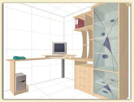 """Проекты pro100 """" архив сайта """" компьютерный стол со шкафом."""