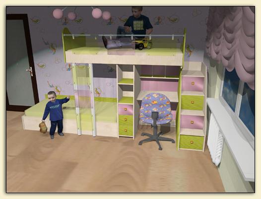 Кровать для двоих детей со столом